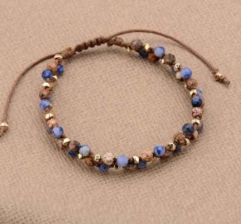 Bohemia Natural Stones Gold Bead Adjustable