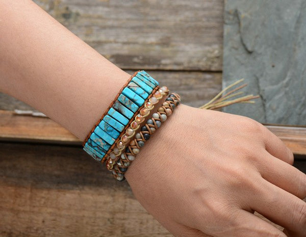 Bohemian Bracelet Tube Shape Natural Stone Single