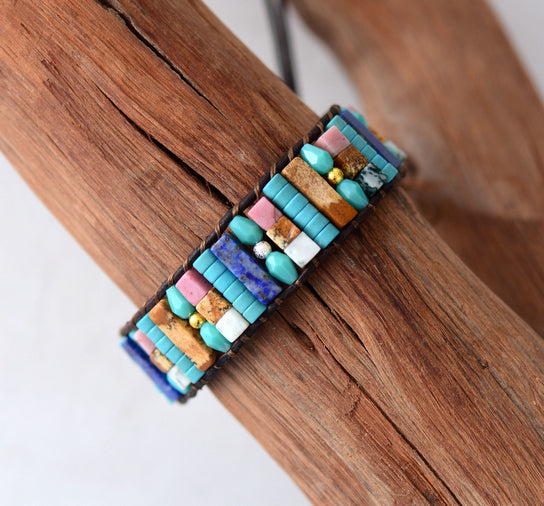 Boho Bracelet Natural Beads Single Leather Wrap