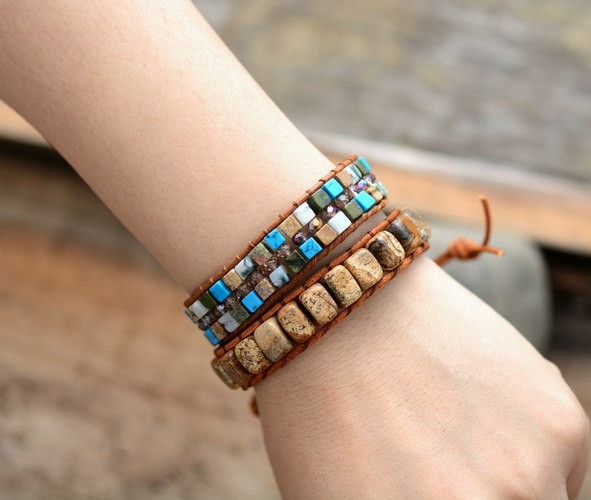 Boho Bracelet Unique Picture Stone Single Leather