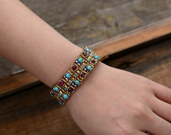 Boho Bracelets High End Natural Stones Wax Cord