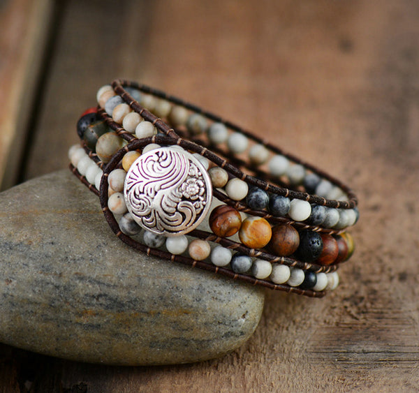 Boho Bracelets Natural Stones Lava Rock Leather