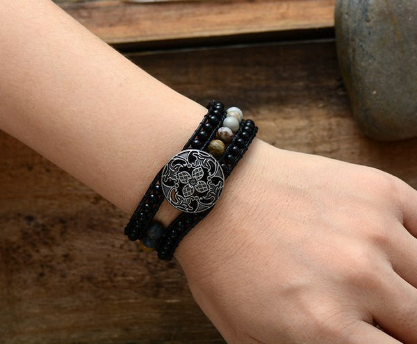 Boho Cuff Bracelet Unique Onyx Leather Wrap