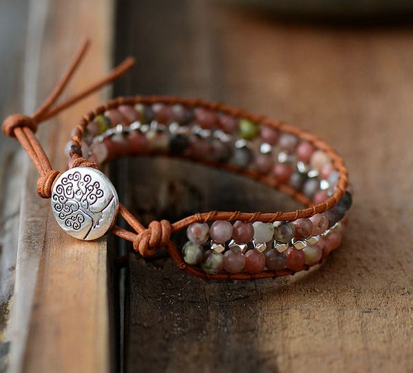 Boho Natural Stones Silver Color Beads Leather