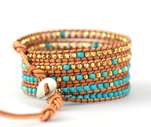 Boho Women Leather Bracelet Unique Stones Gold