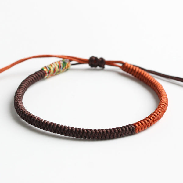 Brown & Mutil Golden Tibetan Buddhist Handbraided