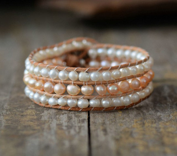 Cuff Bracelet Unique Freshwater Pearl Leather Wrap