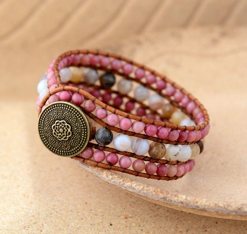 Cuff Bracelet Unique Rhodonite Japser Leather Wrap
