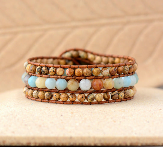 Cuff Bracelet Unique Stones Amazonite Leather Wrap