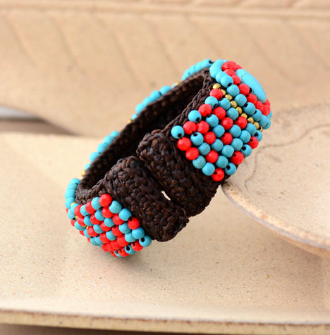 Cuff Bracelet Unique Tribal Crytal Stones Wax Cord