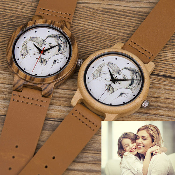 Custom Brand Your Own Photo Watch Unique Bamboo