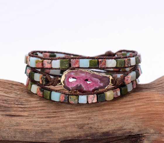 Druzy Bracelet Unique Mixed Square Natural Stones