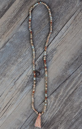 Exclusive 3 Strands Natural Stone Gold Beads