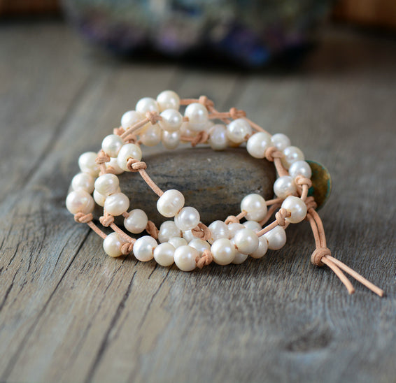 FRESHWATER Pearl Leather Knotted Wrap Bracelet