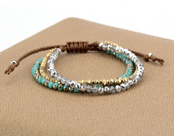 Fashion Bling Crystals Gold Color Beads Cord