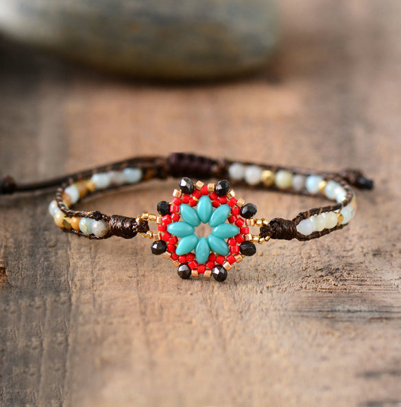 Fashion Bohemian Bracelet Women Amazonite Stones