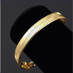 14K Yellow Gold Plated Classic Herring Bone