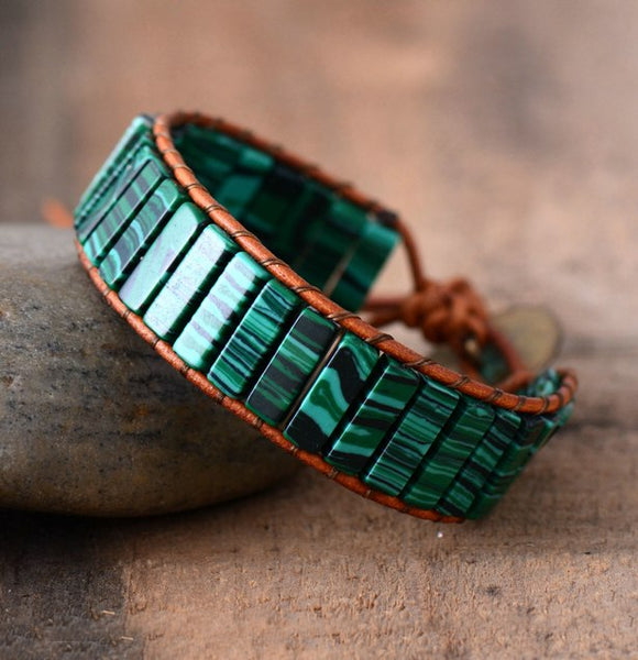 Fashion Bracelets Tube Synthetic Malachite Stonse