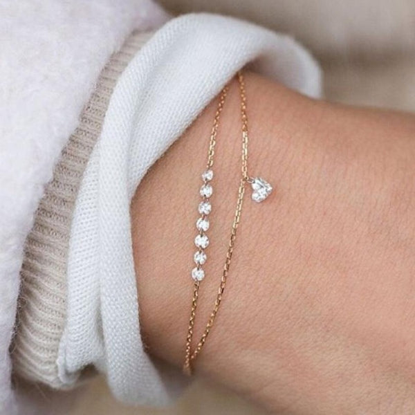 Fashion Double Layer Heart Crystal Bracelet