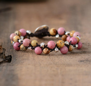 Fashion Womens Bracelets Natural Stones Cord