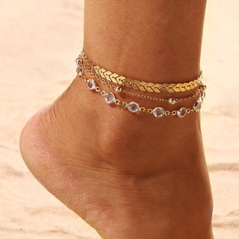 Flawless Multilayer Chain Anklets Bracelets Jewelry