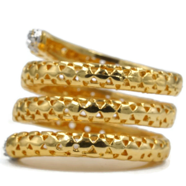 Snake Inspired Coil Gold Tone Fashion Ring
