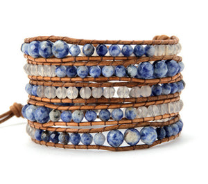 Graduated Faceted Brazilian Sodalite Onyx Leather