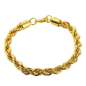 14K Yellow Gold Solid Brass Rope Classic Bracelet