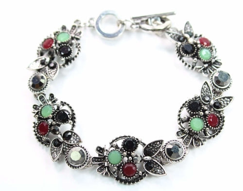 Brilliant Multi Crystal Owl Bracelet