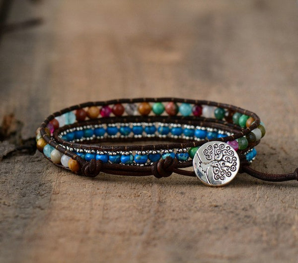 Leather Bracelets Colorful Natural Stones 2
