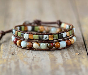 Leather Bracelets High End Mix Natural Stones 2