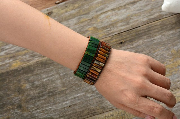 Leather Wrap Bracelet Handmade Natural Stone Tube
