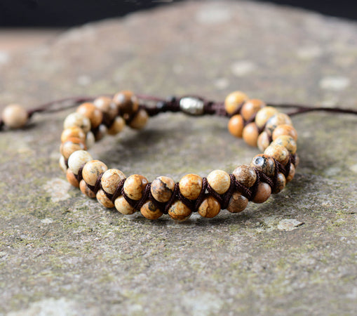 Men Bracelet Cool Picture Stone Beads Braided Cuff