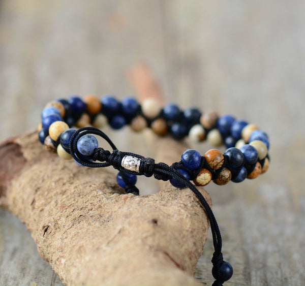 Men Bracelet Matte Onyx Tiger Eye Black Cord