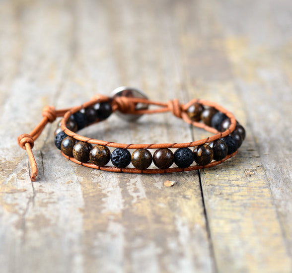 Men Leather Bracelet 6MM Lava Stone Bronzite