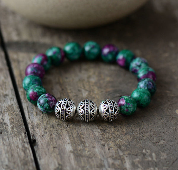 Mens Beaded Bracelets 10MM Natural Stone Tibetan