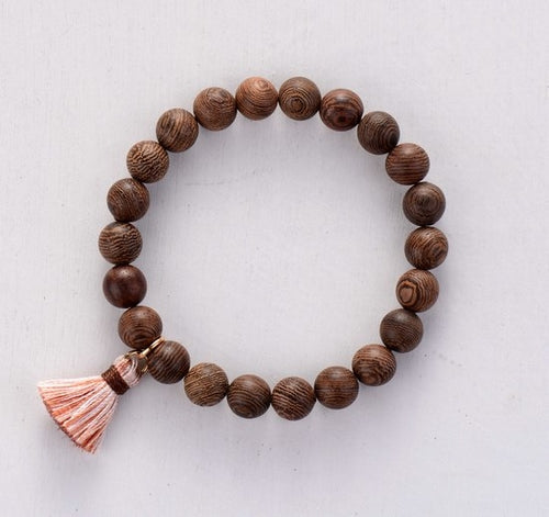 Mens Bracelet 8MM Wood Beads with Tassel Stretch