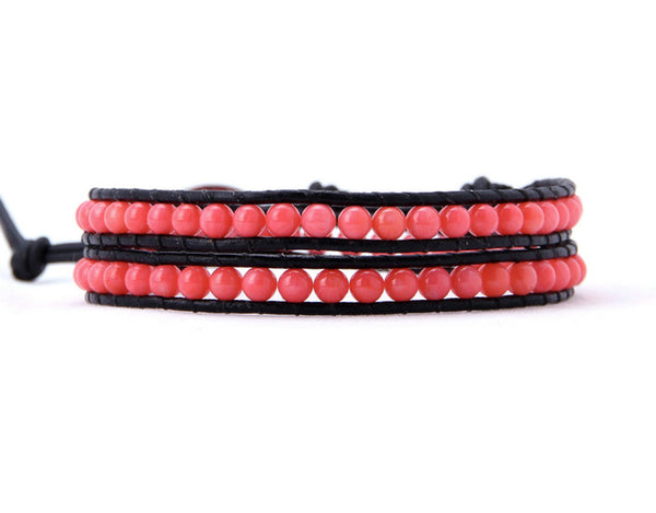 Natural Coral Beads Leather Wrap Bracelet Coral