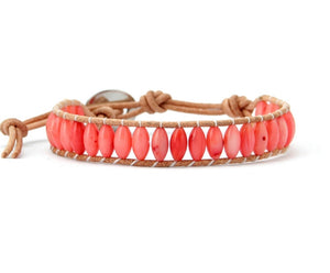 Natural Rice Shape Coral Stone Leather Bracelet