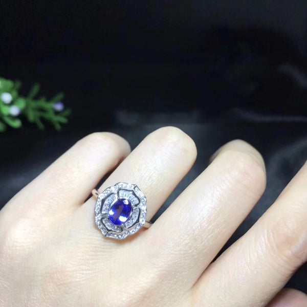 Natural Tested Tanzanite Gemstone Ring, 925