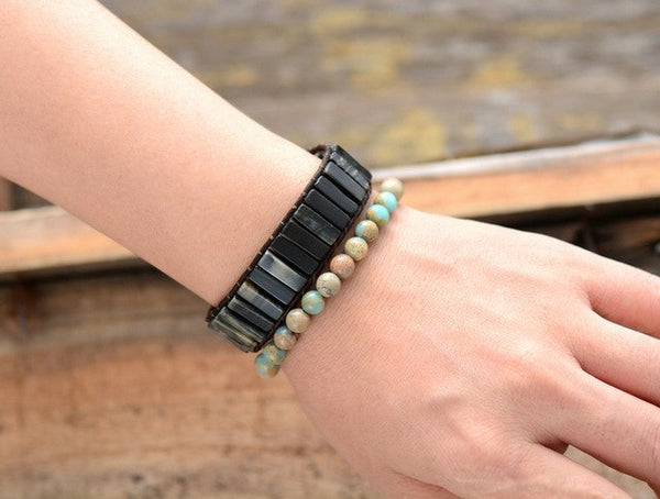 New Boho Bracelets Tube Shape Natural Stone Single
