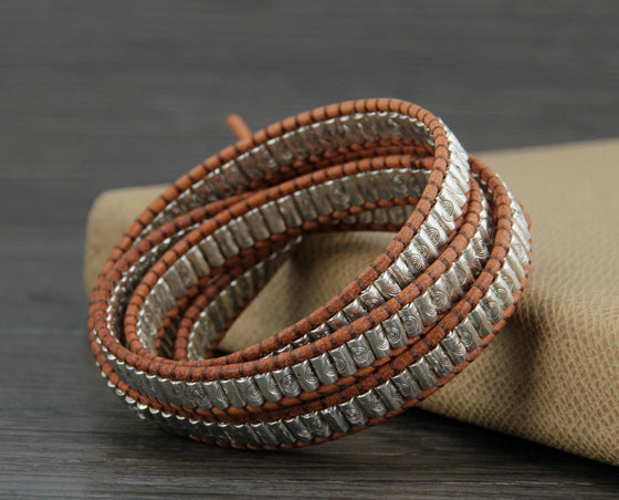 New Cool Antqiue Tube Alloy Leather Wrap Bracelet