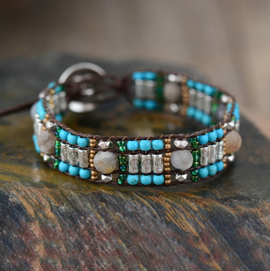 New Cuff Bracelets Natural Stones Seed Beads Wrap