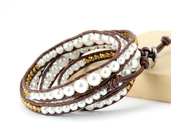 New Graduated Shell Pearls Leather Wrap Bracelet