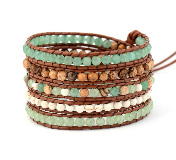 New Mixed Stones Crystal Beads Leather Wrap