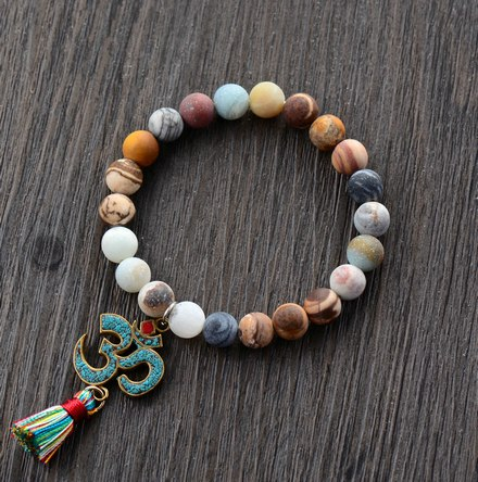 New Stretch Bracelet 8MM Natural Stone Tibetan OM