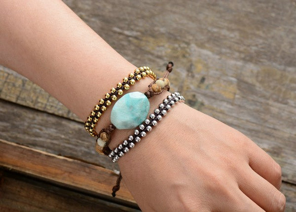 New Womens Bracelet Gold Color Beads String