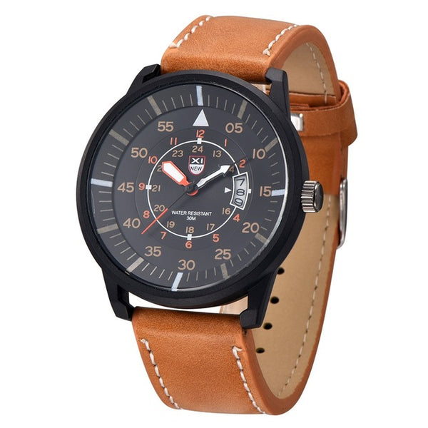 Amazing Men's Leather Stainless Steel Sport Analog