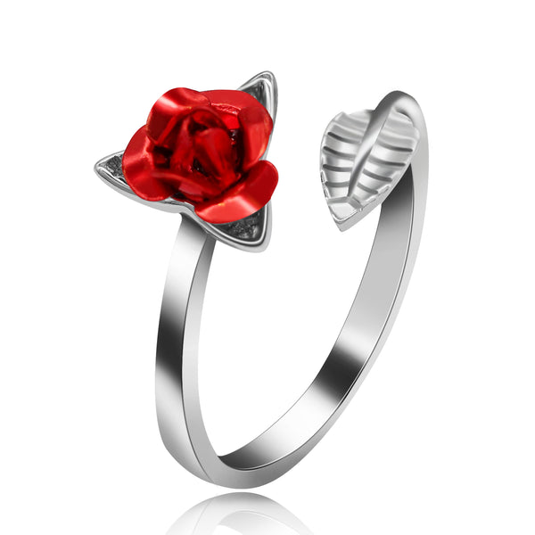 Platinum Plated Women's Rose Flower Open Ring