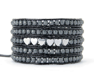Quality Natural Hematite Stones with Heart Charm